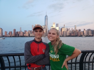 Evan and Emy Cooley stand for a picture with the New York City skyline in the background. The Richmond Senior High School twins have made the most of their dual enrollment classes at Richmond Community College.