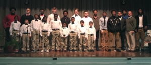 Members of the Bow Tie Boys Club and the Richmond varsity football team.