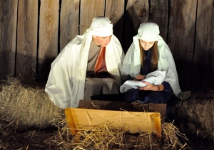 "Two youth from Mount Olive Baptist Church portray Mary and Joseph holding the newborn baby Jesus in last year's ""Scenes of Christ"" at Mount Olive Baptist."