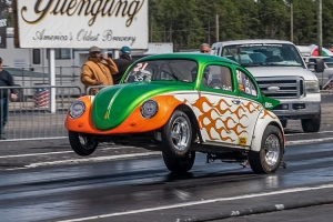 Clint Wood of Wendell took his '64 VW Bug to the finish line at Rockingham Dragway's all-Volkswagen event this weekend.