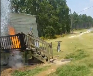 Lorne Terry went live on Facebook Sunday while he tried to put out a porch fire in Hamlet.