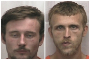 Cody Mabe, left, and Terry Poplin are accused of stealing a lawnmower from Hamlet Hardware early Thursday morning.
