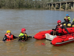 First responders take a water rescue certification course at the Pee Dee River.