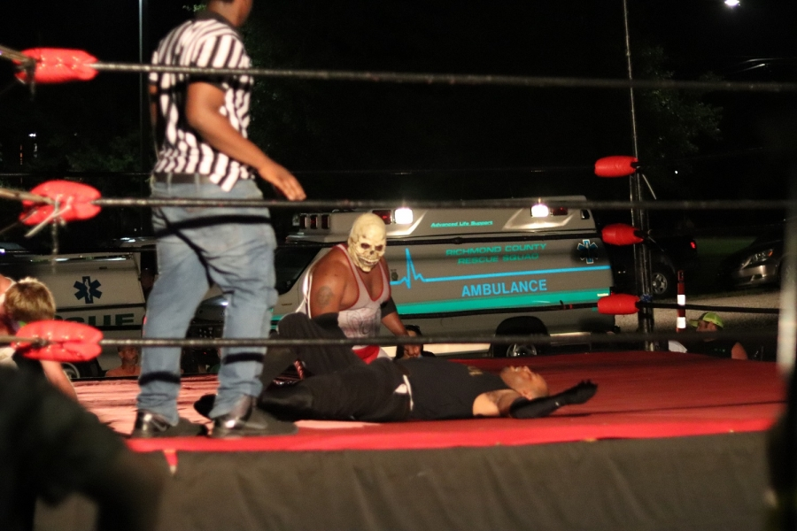 Syde Effect pins Old-school to retain his title following an open challenge during an Adrenaline Pro Wrestling show benefiting the Richmond County Rescue Squad on Saturday.