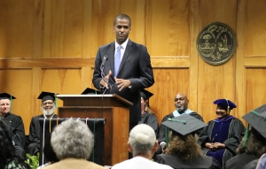 Bakari Sellers, CNN political commentator and former South Carolina legislator, speaks Tuesday during the inaugural Northeastern Technical College convocation at the main campus in Cheraw.