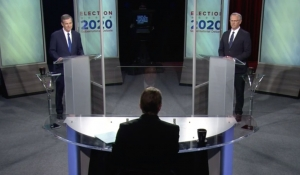 Gov. Roy Cooper, left, and Lt. Gov. Dan Forest debate Wednesday, Oct. 14, at UNC-TV studios. The moderator, at center, is Wes Goforth.