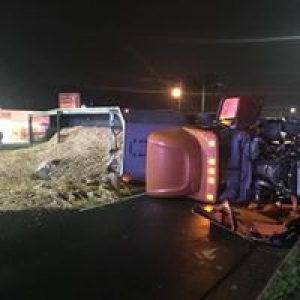 Tractor-Trailer Overturns on Broad Avenue