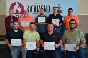 Pictured are Lean Six Sigma Green Belt training completers, in front, from left, Matthew Jones, William Locklear, Kevin Grimsley and Ross Masson; in back, from left, instructor for the class, Dr. Ron Fite; training completers Nathan Grant, Preston Quick and Eric Smith; and RichmondCC Director of Customized Training Lee Eller.