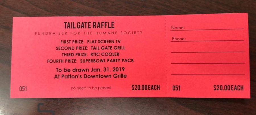 Raffle Tickets for the Humane Society's annual Tail Gate Party are available from any board member.